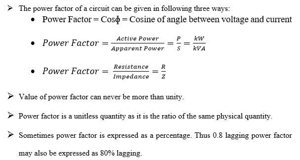 Power factor conclusion